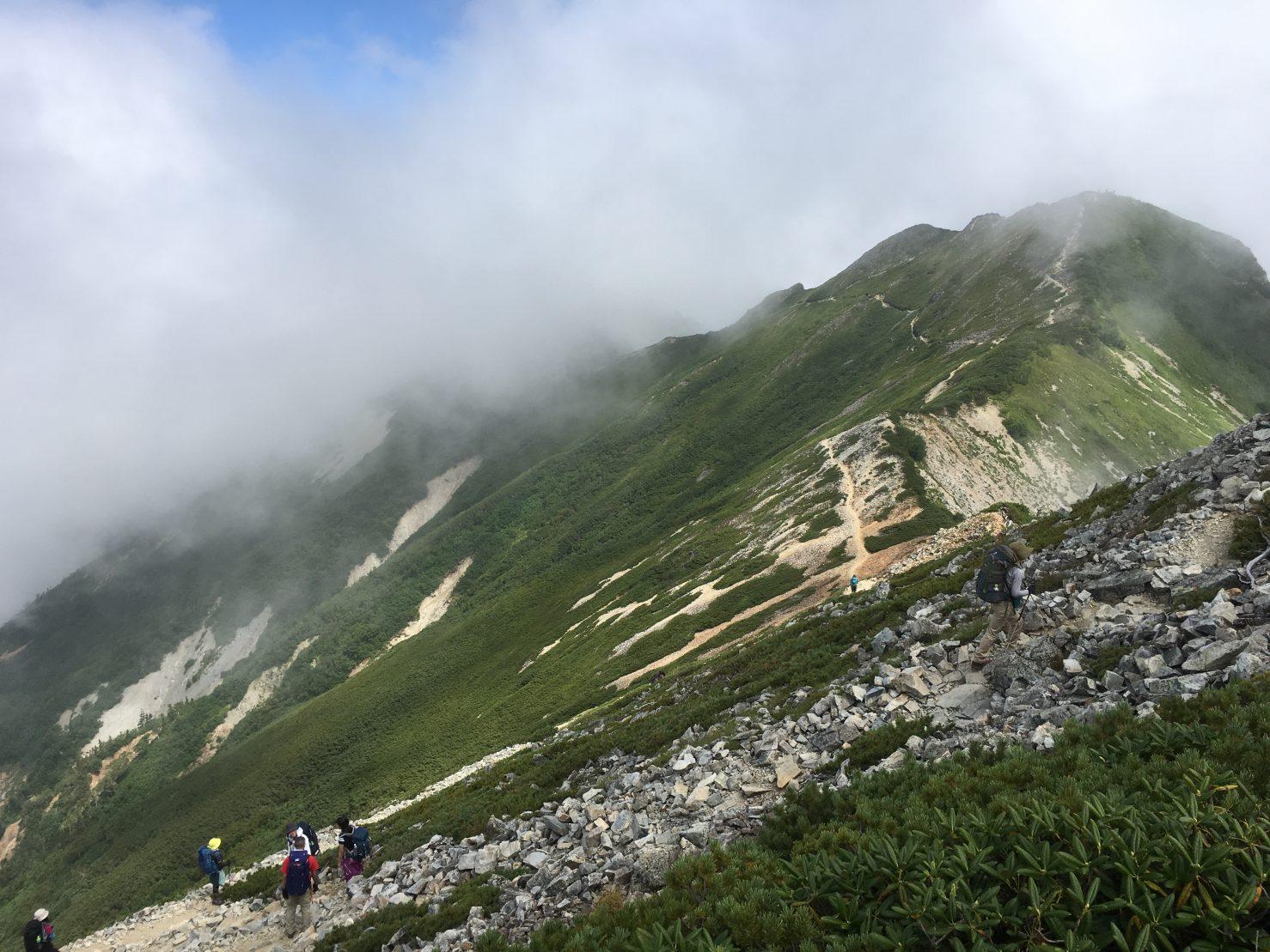 山頂時々晴れ、4年生常に休憩